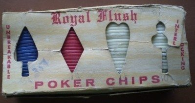 Royal Flush Poker Chips Interlocking Vintage Plastic