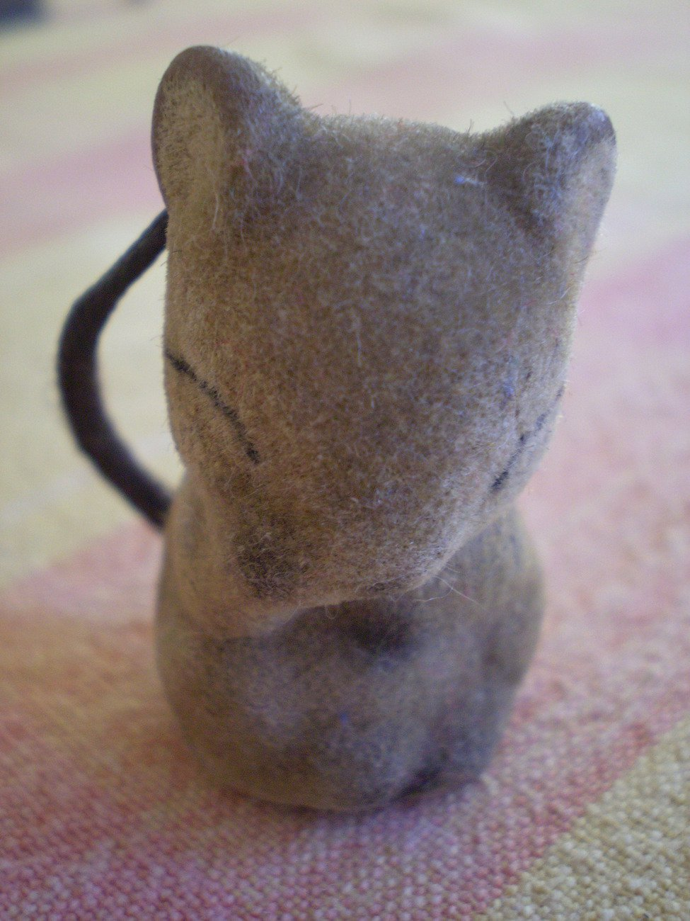 """Small Flocked Mouse Critter Eyes Closed Animal Asleep Figure 1.75"""""""