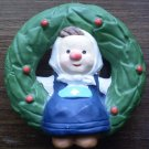 Wreath with Dutch Girl Christmas Ornament Korea Ceramic
