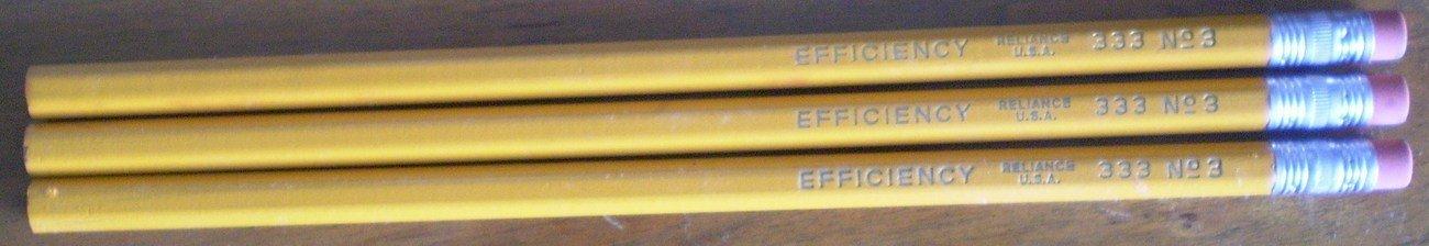 Reliance Pencil Efficiency 333 No. 3 Lot Vintage Hex Yellow