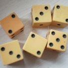 Lot 6 Small Plastic Dice Bakelite Vintage Die 1cm Tan