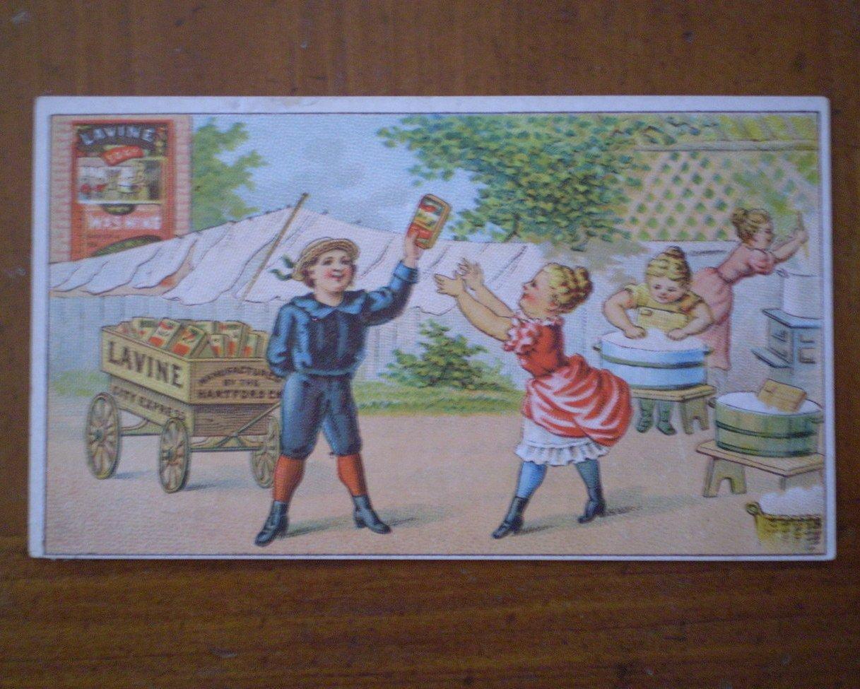 Lavine Washing Soap Cart Vintage Trading Trade card