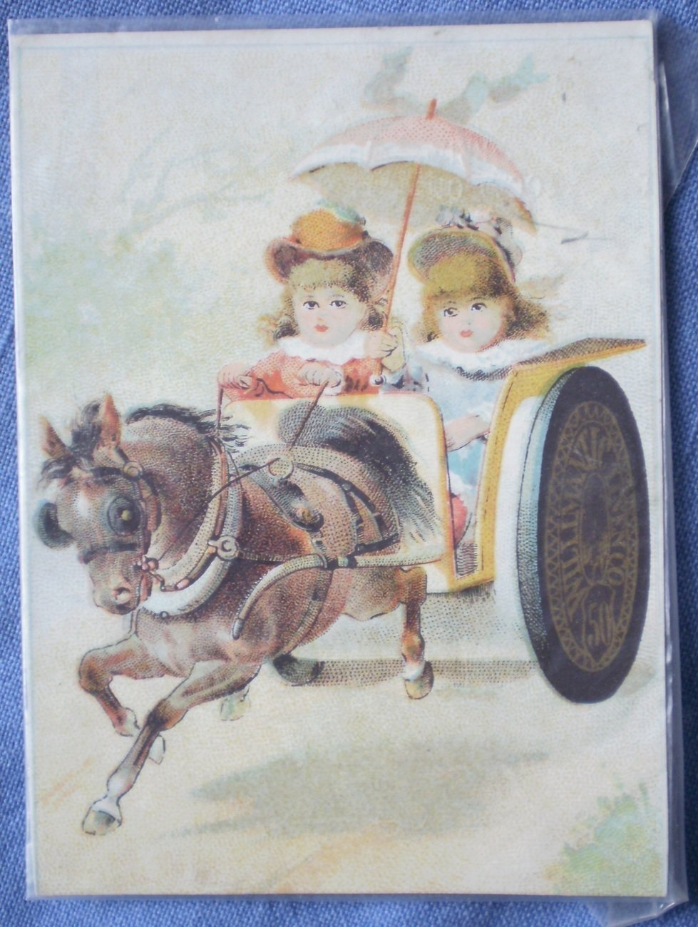 Willimantic Trade Card Vintage Six Cord Spool Cotton Thread Chariot Pony