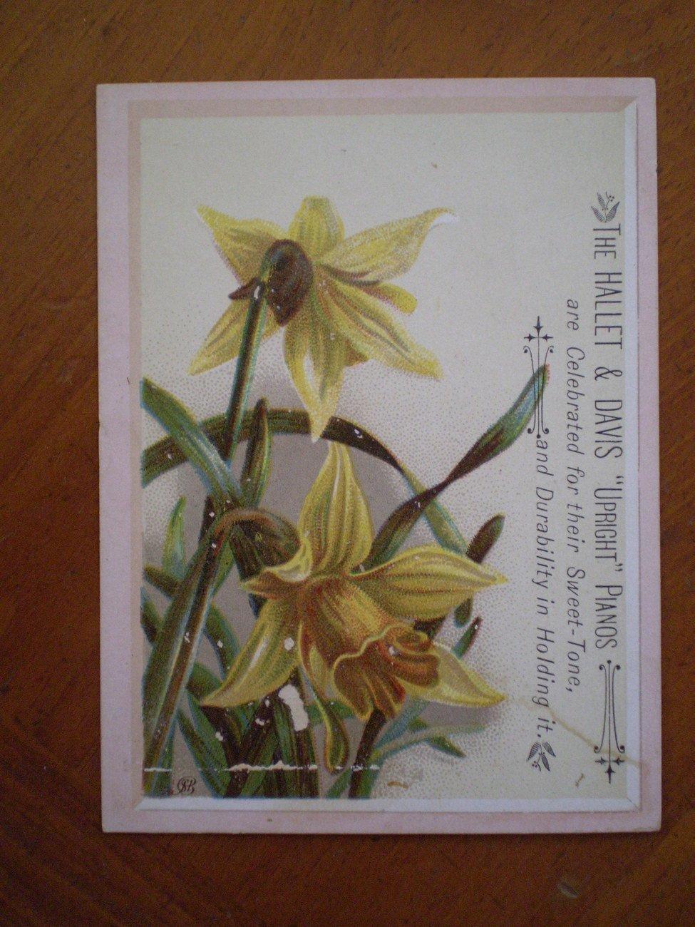 Hallet Davis Upright Pianos Trading Trade Card