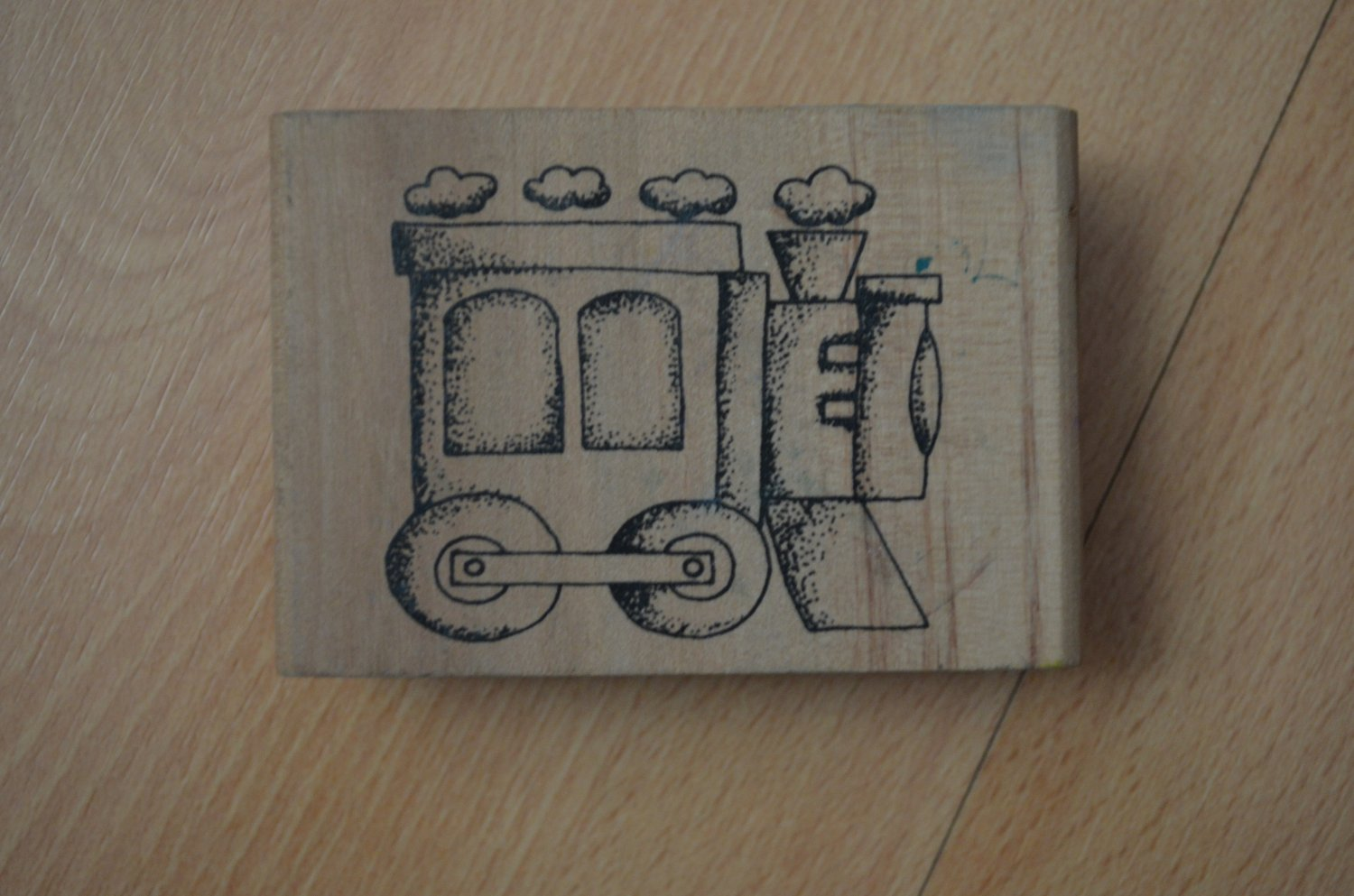 Rubber Stamp Train Engine Wood Mounted