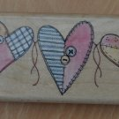 Heart Strings Rubber Stampede A2127E Wood Mounted