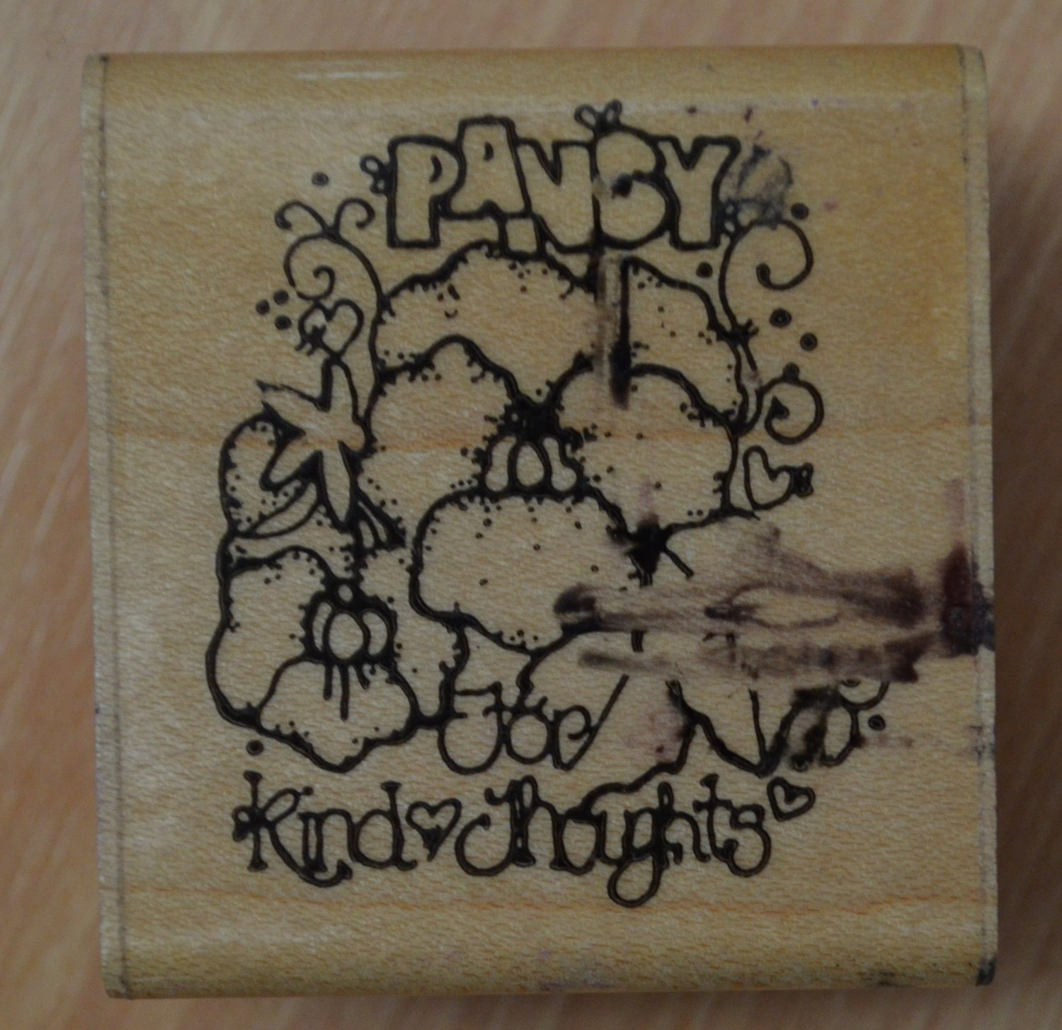 Pansy Seeds D.O.T.S. Rubber Stamp Wood Mounted DOTS E325 Kind Thoughts