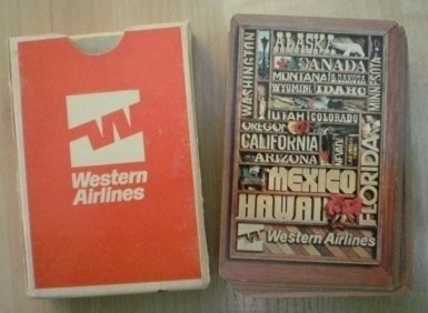 Vintage Playing Cards Western Airlines Wood Frame Cities