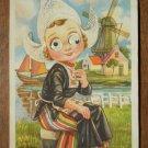 Holland Postcard Googly Eyes Dutch Girl Windmill 1955 Netherlands Dutch
