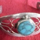 Vintage Sterling Silver Cuff Bracelet Mexico Turquoise Crown