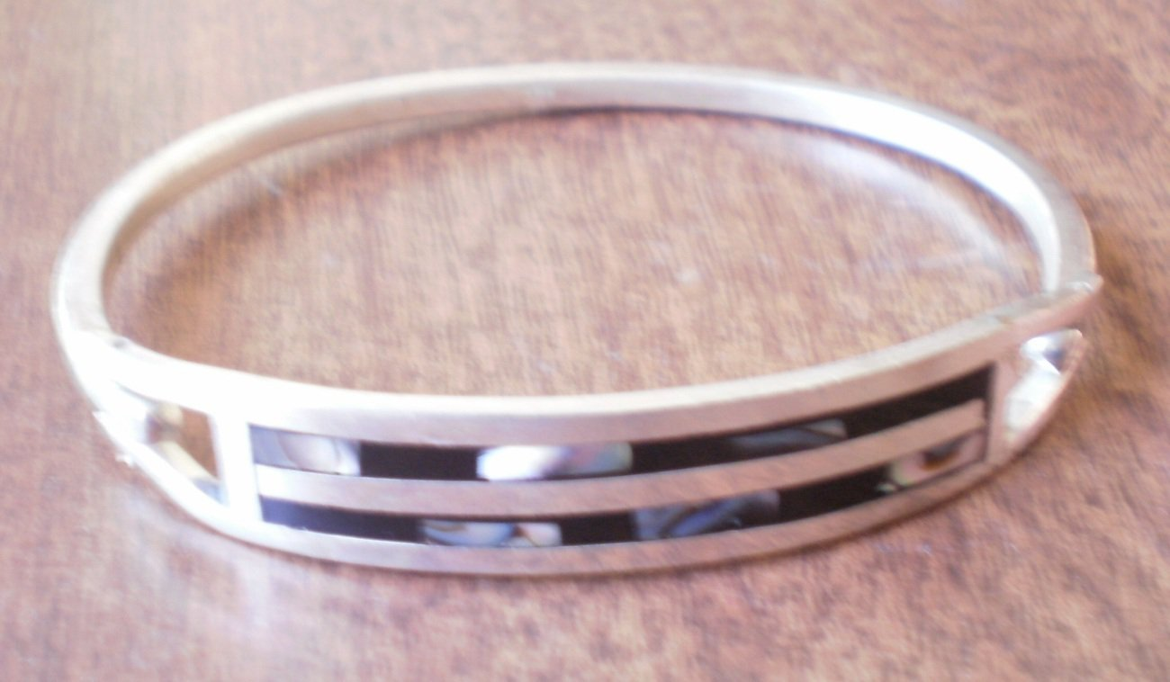 Sterling Silver Bracelet Bangle Inlaid Shell Abalone Mexico