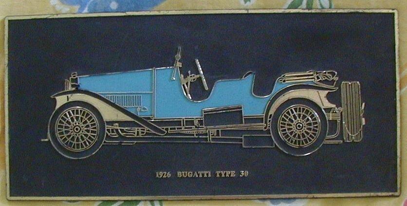 1926 Bugatti Type 30 Frank Down Plaque Plate Decor Vintage