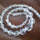 Necklace Glass Faceted Graduated Bead Clear Vintage