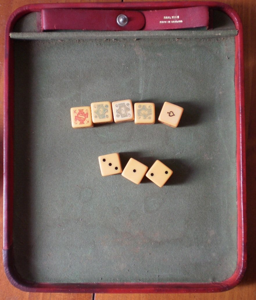 Dice Game Vintage Leather Tray Bakelite 8 Card Suit England