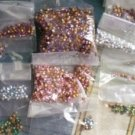 Lot Vintage Rhinestones Gold Foiled 3mm Various Colors