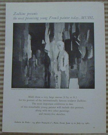Zadkine Presents Muhl Galerie de Paris 1961 Vintage Ad