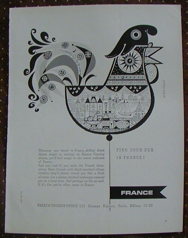 Find Your Fun France French Tourist Office Vintage Ad 1962