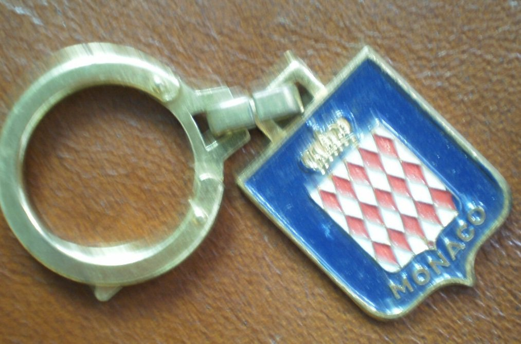 Monaco Keychain Vintage Metal Enamel Coat of Arms