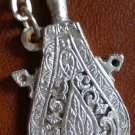 Keychain Water Bottle Flask Canteen Ornate Metal Vintage