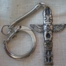 Totem Keychain Vintage Japan Silvertone Metal Indian Pole Eagle