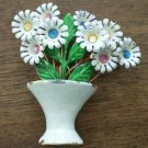Vintage Enamel Pin Brooch Flower Pot Vase Daisy White Rhinestones Bouquet