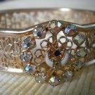 Goldtone Bangle Bracelet Aurora Borealis Rhinestones Vintage