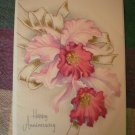 Vintage Greeting Card Anniversary Orchids Cattleya Flowers