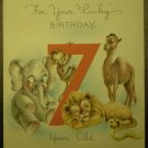 Vintage Card 7th Birthday Golden Bell Noah's Animals Ark
