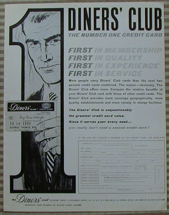 Vintage Ad Diners Club 1963 Number One Credit Card