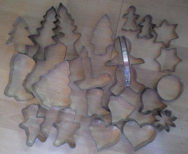 Lot 21 Metal Cookie Cutters Christmas Heart Aluminum