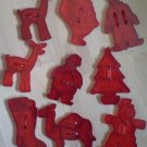 Lot Vintage Cookie Cutters Red Plastic Clown Camel Snowman
