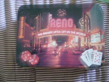 Vintage Reno Playing Cards Tin 2 decks Casino Birds Flowers