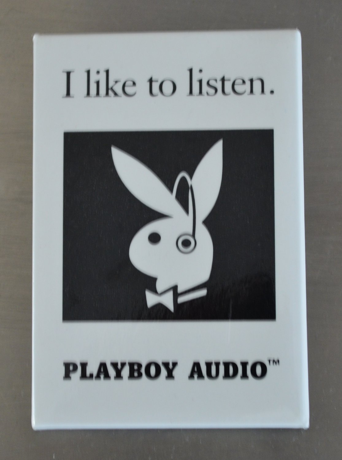 Playboy Audio Button Pin I Like To Listen Vintage