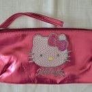 2006 HELLO KITTY Pencil Case Clutch Metallic Pink Bag Sanrio Zipper Soft Vinyl