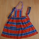 Vintage Apron Red White Blue Stripes Handmade Adorable Flowers ZIgzag Polka Dot