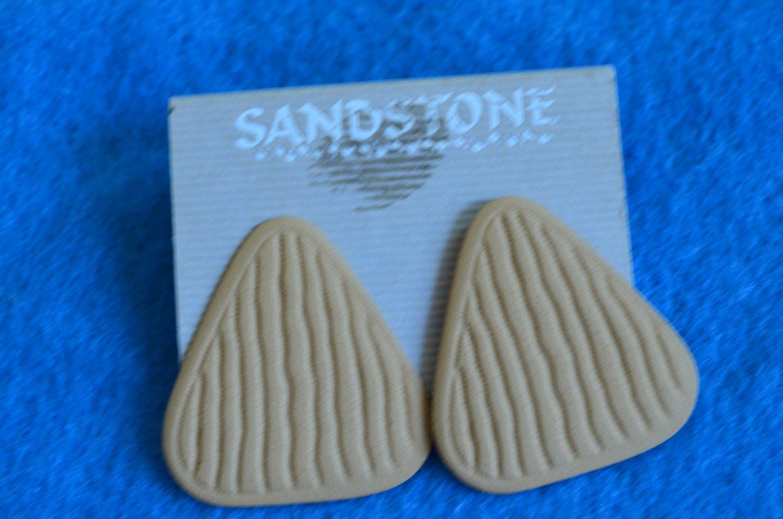 Vintage Earrings SANDSTONE Triangle Pierced On Card Triangular