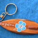 Hawaii Wood Surfboard  Keychain Key Chain Wood Hibiscus Flower