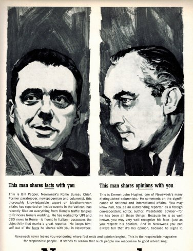NEWSWEEK Vintage Print Ad Fact Opinion 1960s Bill Pepper Emmet John Hughes