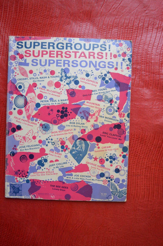 Supergroups! Superstars! Supersongs! Paperback Warner Bros Sheet Music Lyrics Guitar Chords
