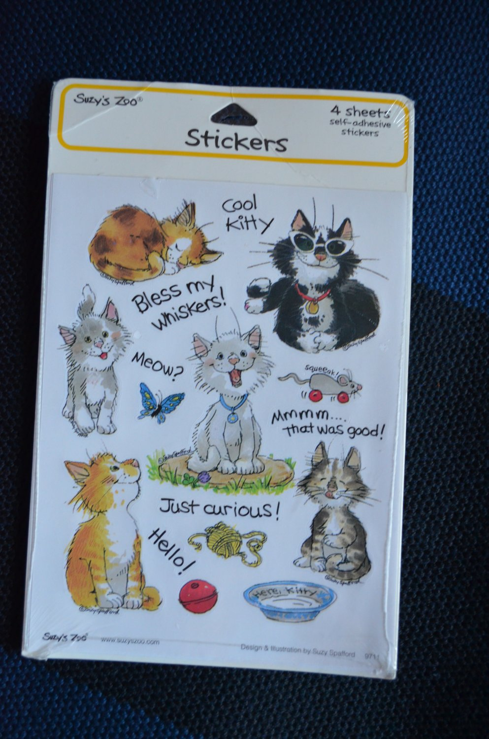 Suzy's Zoo Sticker 4 Sheets/pkg Cats Kittens Suzy Spafford 9711