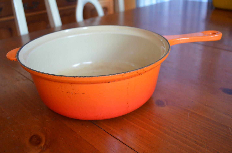 Le Creuset #26 3 Quart Pot Orange Flame Enamel Vintage