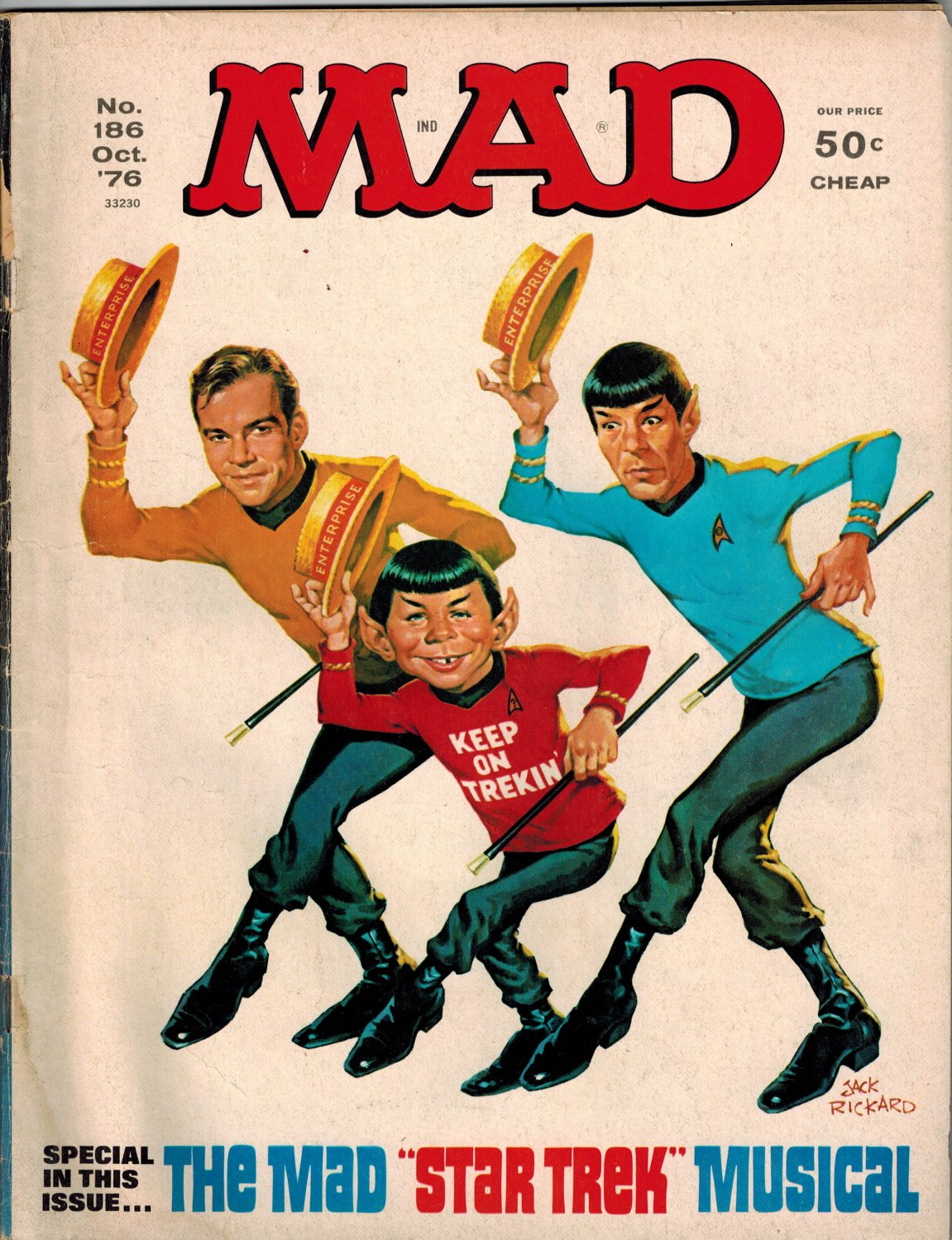 "MAD #186 MAGAZINE E.C. WILLIAM GAINES ALBERT FELDSTEIN ""STAR TREK PARODY"" SPOCK"