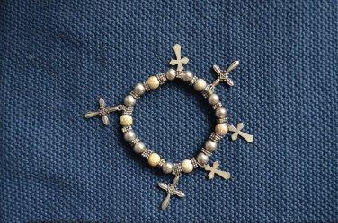Bracelet Crucifix Cross Charms Stretch Silver Tone Metal Plastic
