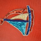 Vintage Hand Stitched Beaded Sequin Applique Sailboat Sew on Beach Ocean
