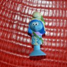 "Miniature Smurf Figure Smurfette 1.3"" Suction Soft Rubber Girl Scout? Peyo U28"