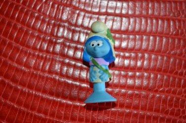 "Miniature Smurf Figure Smurfette 1.3"" Suction Soft Rubber Girl Scout? Peyo U28"