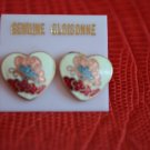 Vintage Cloisonne Earrings Heart White Pink Red Pierced on Card Butterfly