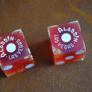 VINTAGE DICE ALADDIN HOTEL CASINO LAS VEGAS NEVADA LAMP LOGO PAIR RED Plastic