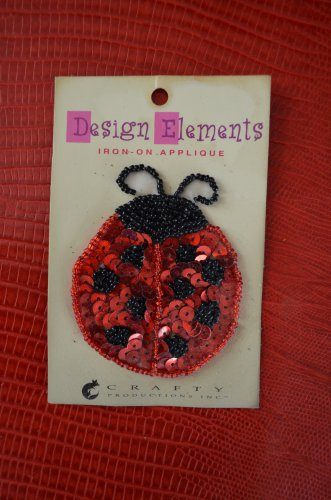 Design Elements Sequin Beaded-Iron-On Applique Patch LADY BUG