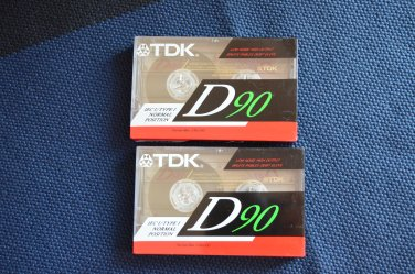 TDK D90 IEC I/Type I High Output Blank Cassette Tape NEW Sealed LOT OF 2